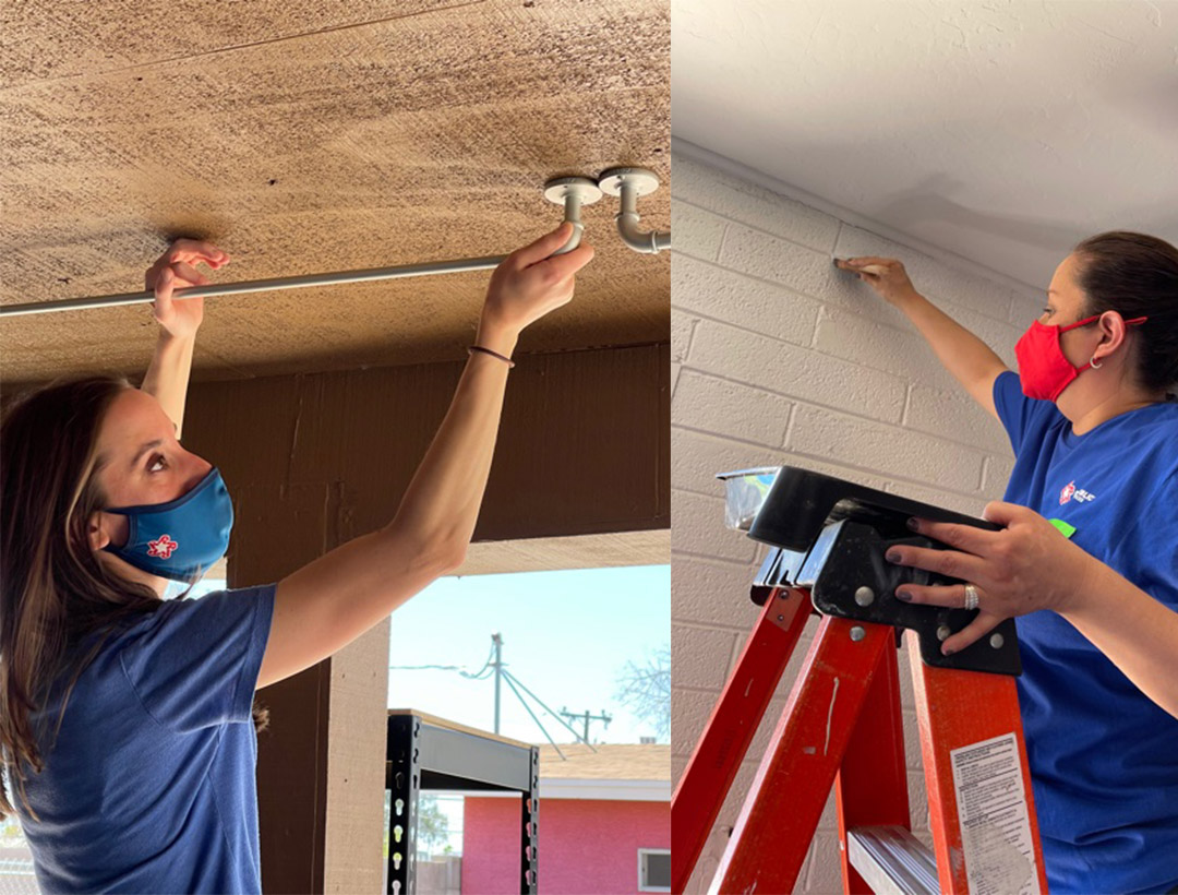 Two volunteers from Republic Services, shown in separate side by side photos, repairing the ceiling.